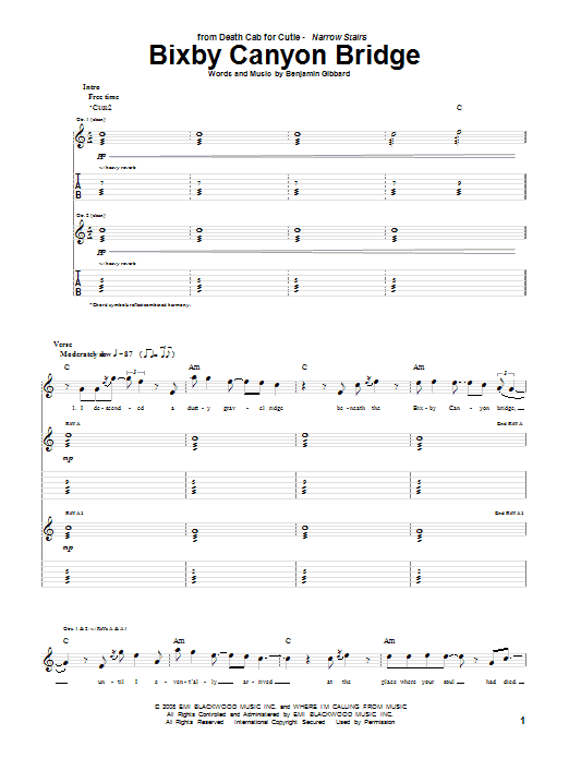Tablature guitare Bixby Canyon Bridge de Death Cab For Cutie - Tablature Guitare