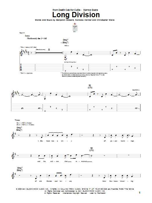 Tablature guitare Long Division de Death Cab For Cutie - Tablature Guitare
