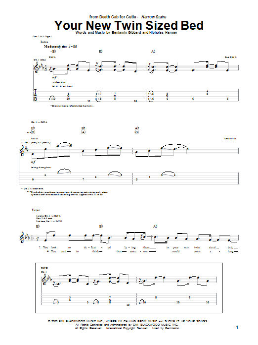 Tablature guitare Your New Twin Sized Bed de Death Cab For Cutie - Tablature Guitare
