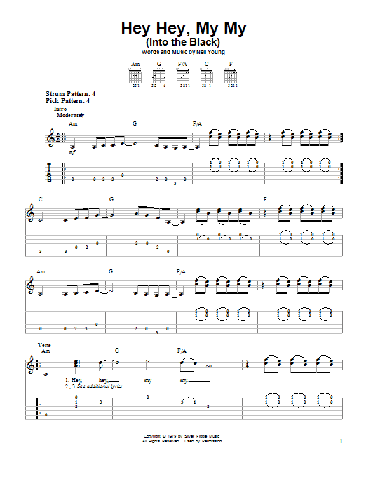 Sheet Music Digital Files To Print Licensed Neil Young Digital