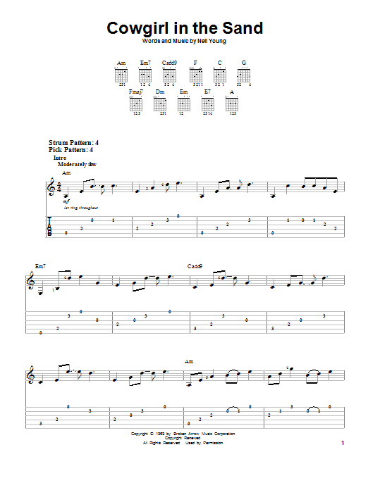Cowgirl In The Sand by Neil Young - Easy Guitar Tab - Guitar Instructor