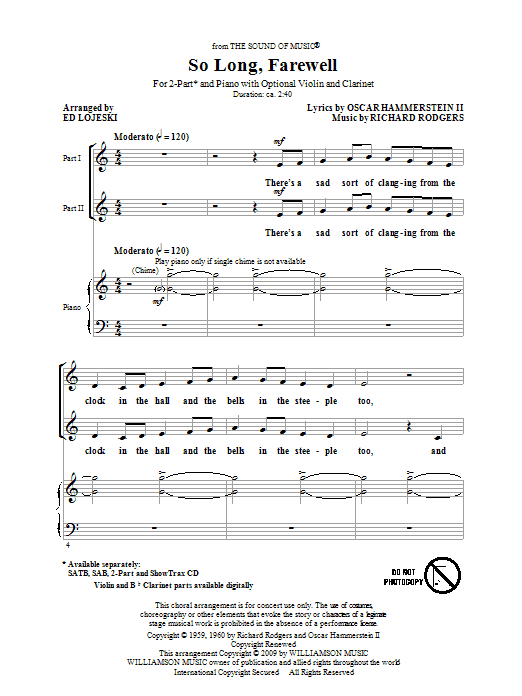 So Long, Farewell (from The Sound Of Music) sheet music for choir and piano (duets) by Oscar II Hammerstein