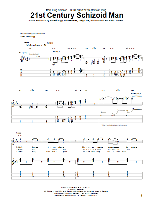 Tablature guitare 21st Century Schizoid Man de King Crimson - Tablature Guitare