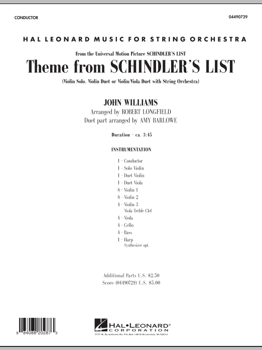 Theme from Schindler's List (COMPLETE) sheet music for orchestra by Robert Longfield