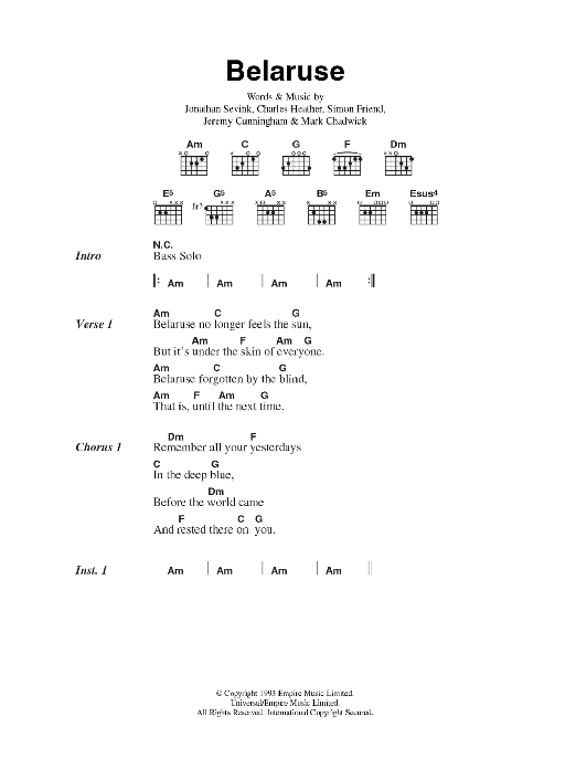 Belaruse sheet music for guitar solo (chords, lyrics, melody) by Charles Heather
