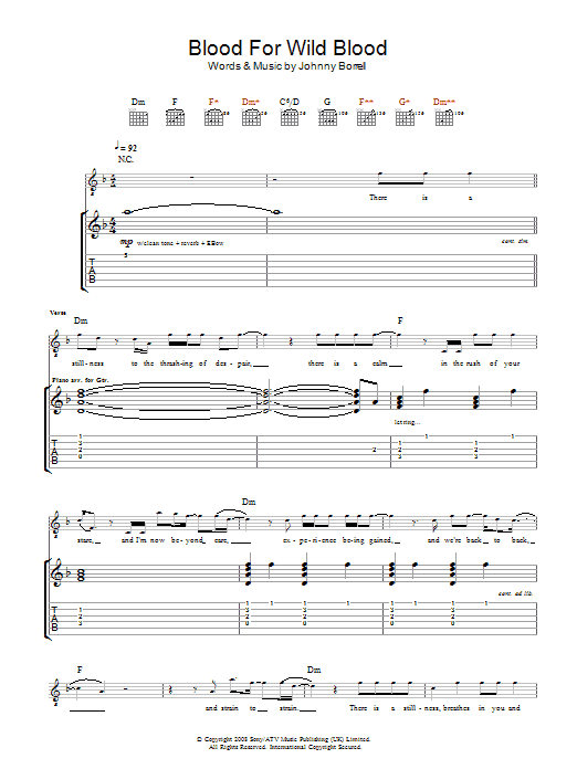 Blood For Wild Blood sheet music for guitar solo (tablature) by Johnny Borrell