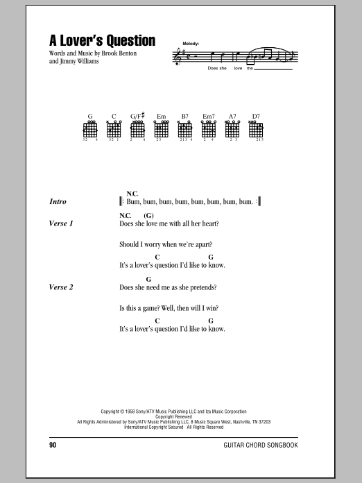 A Lover's Question sheet music for guitar solo (chords, lyrics, melody) by Jimmy Williams