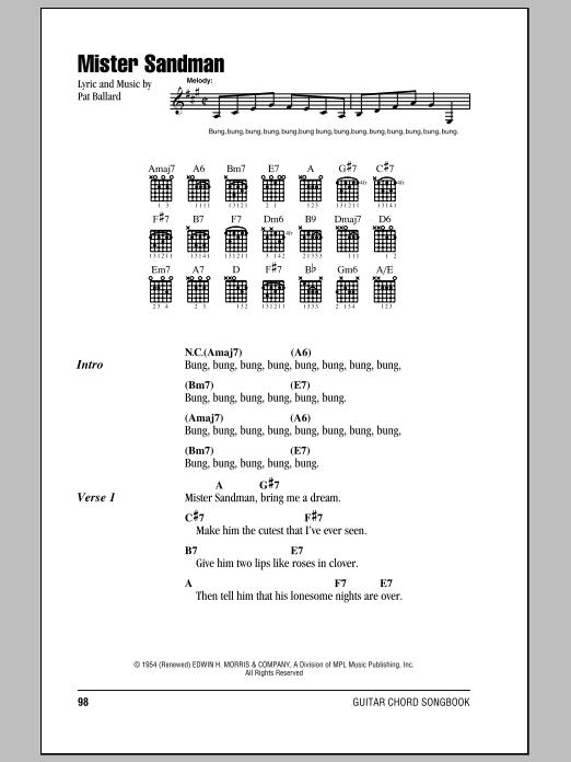 how to play mr sandman on guitar tabs