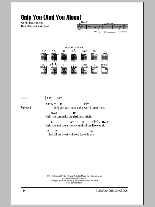 Only You (And You Alone) sheet music for guitar solo (chords, lyrics, melody) by Buck Ram