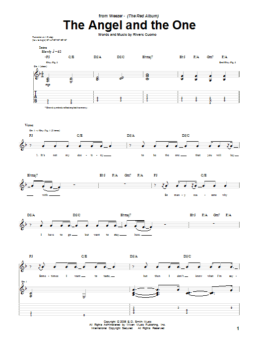 Tablature guitare The Angel And The One de Weezer - Tablature Guitare
