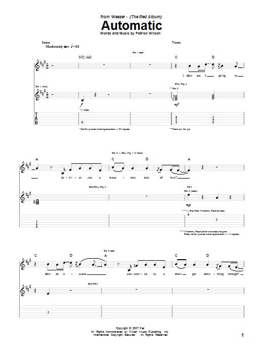 Tablature guitare Automatic de Weezer - Tablature Guitare