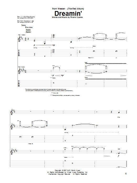 Tablature guitare Dreamin' de Weezer - Tablature Guitare