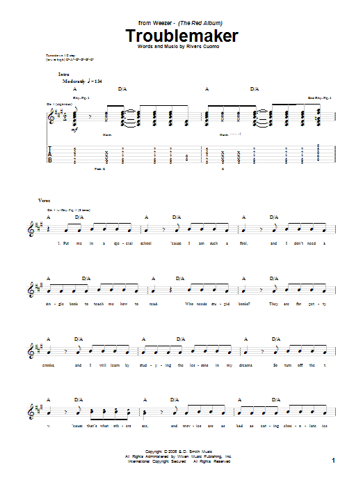 Tablature guitare Troublemaker de Weezer - Tablature Guitare