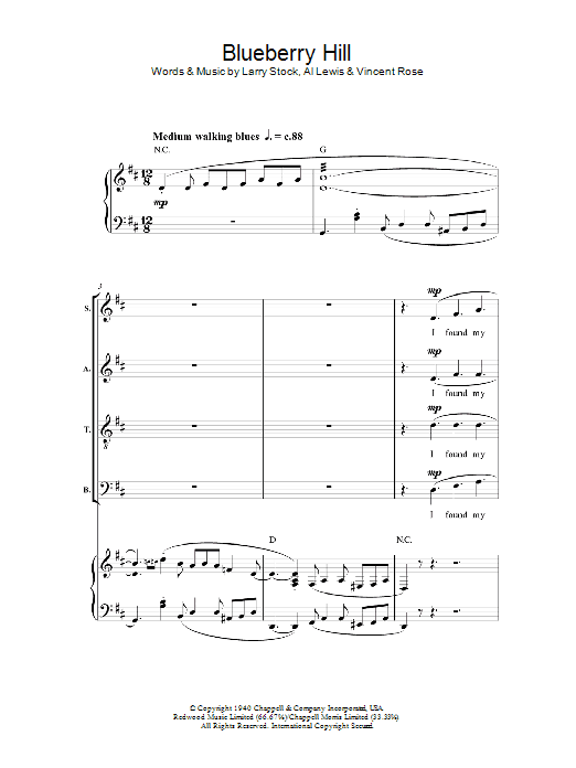 Blueberry Hill sheet music for choir and piano (SATB) by Al Lewis