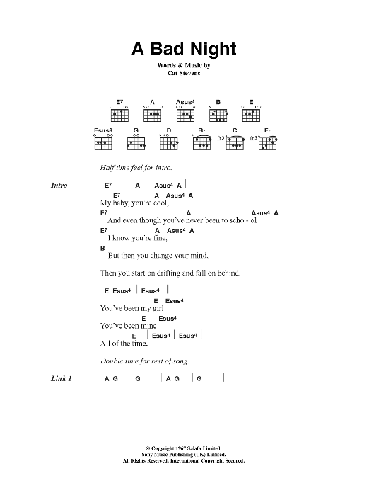 A Bad Night sheet music for guitar solo (chords, lyrics, melody) by Cat Stevens