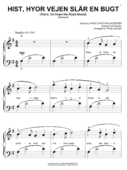 Partition piano Hist, Hyor Vejen Slar En Bugt (There, On Down The Road Ahead) de Phillip Keveren - Piano Facile