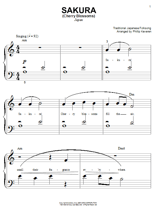 Partition piano Sakura (Cherry Blossoms) de Phillip Keveren - Piano Facile