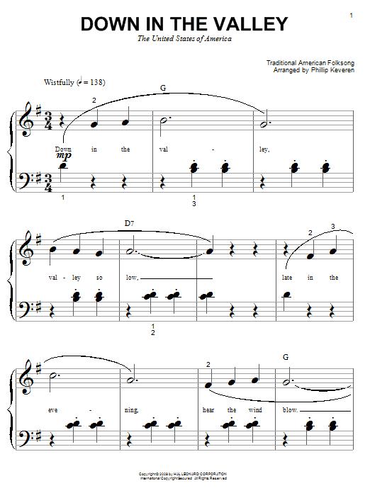 Partition piano Down In The Valley de Phillip Keveren - Autre