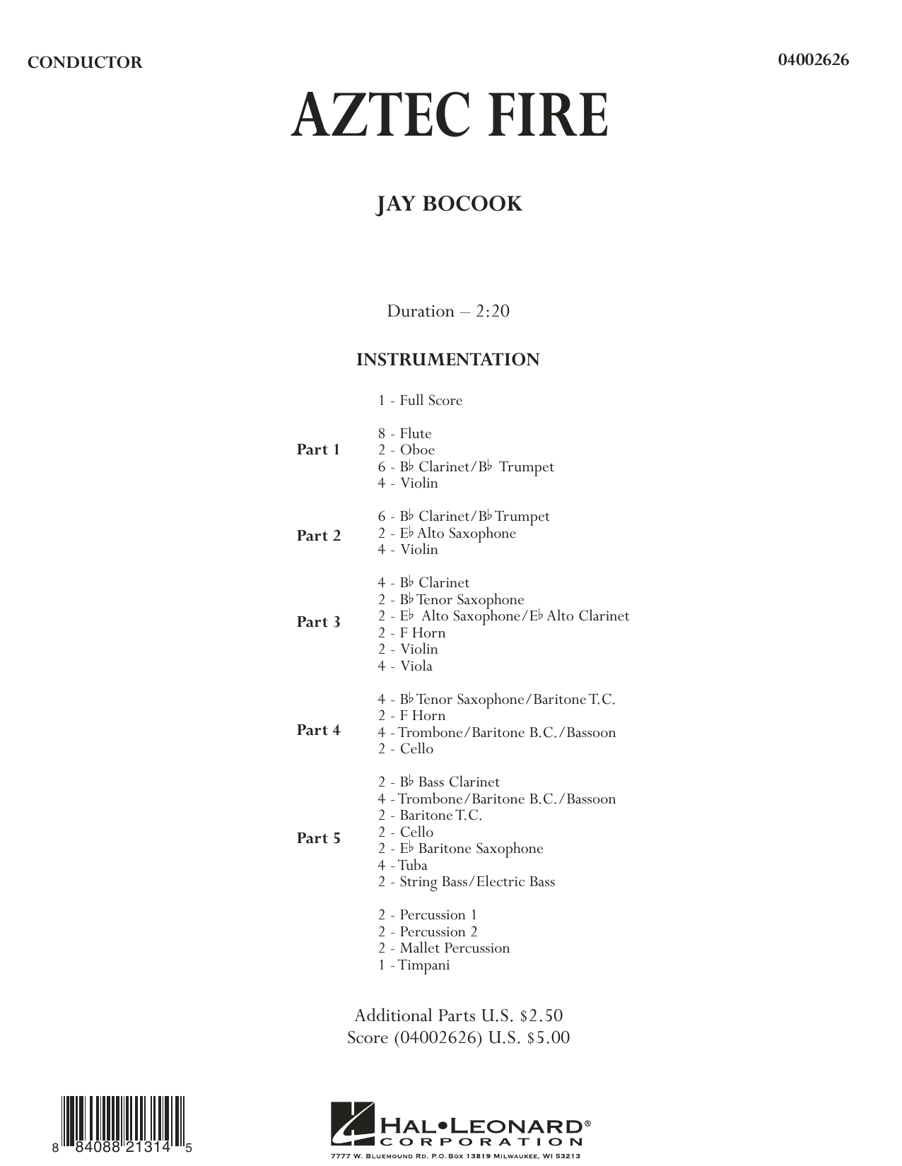 Aztec Fire (COMPLETE) sheet music for concert band by Jay Bocook