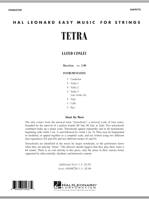 Tetra (COMPLETE) sheet music for orchestra by Lloyd Conley