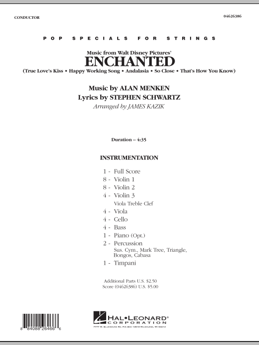 Music from Enchanted (COMPLETE) sheet music for orchestra by James Kazik
