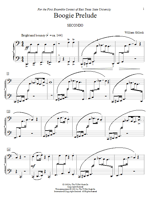 Boogie Prelude sheet music for piano four hands (duets) by William Gillock