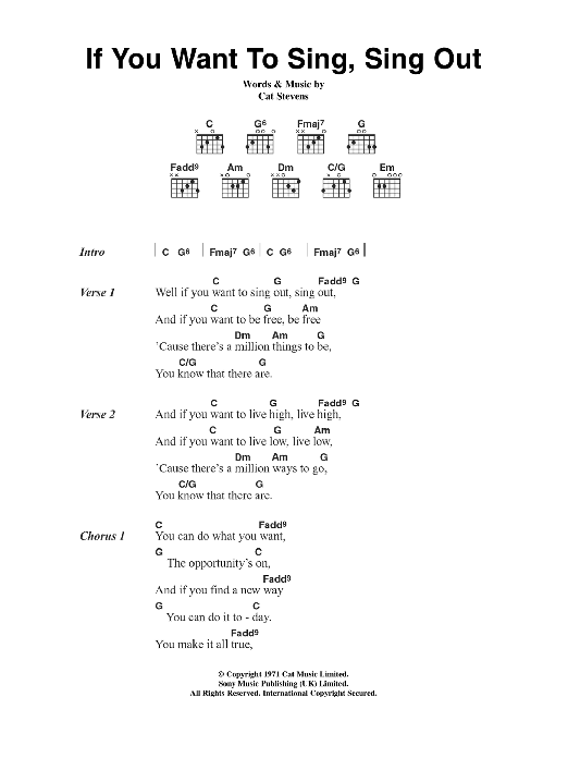 If You Want To Sing Out, Sing Out sheet music for guitar solo (chords, lyrics, melody) by Cat Stevens