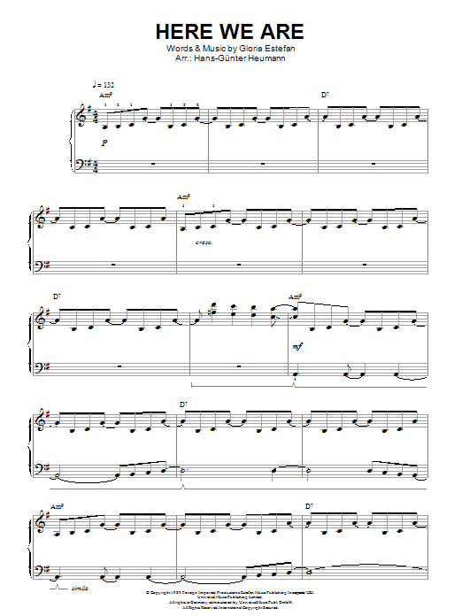 Here We Are sheet music for piano solo (chords) by Gloria Estefan