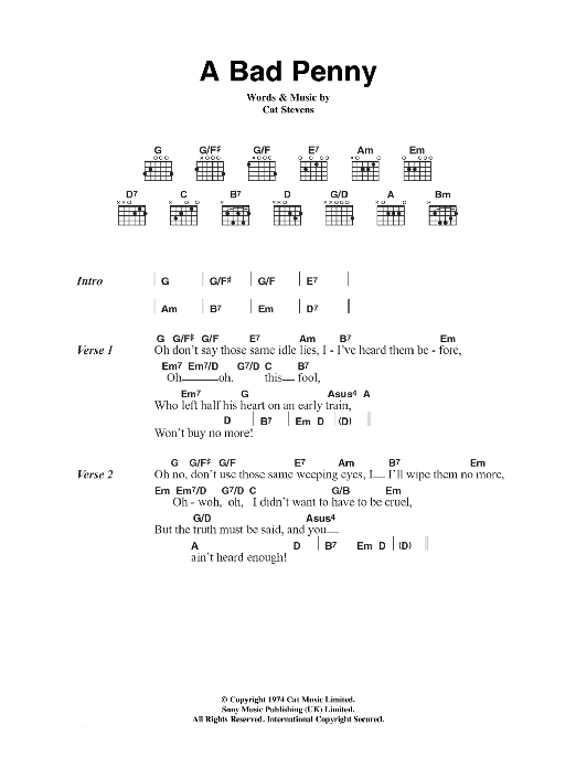 A Bad Penny sheet music for guitar solo (chords, lyrics, melody) by Cat Stevens