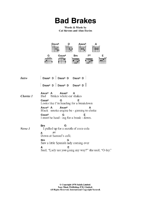 Bad Brakes sheet music for guitar solo (chords, lyrics, melody) by Alun Davies
