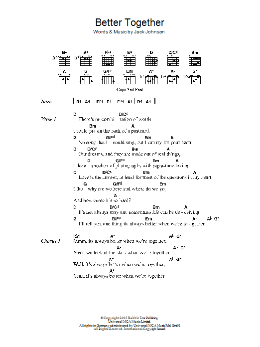 Better Together by Jack Johnson - Guitar Chords/Lyrics - Guitar Instructor