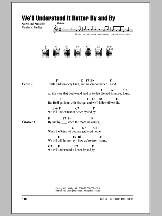 We'll Understand It Better By And By sheet music for guitar solo (chords, lyrics, melody) by Charles A. Tindley