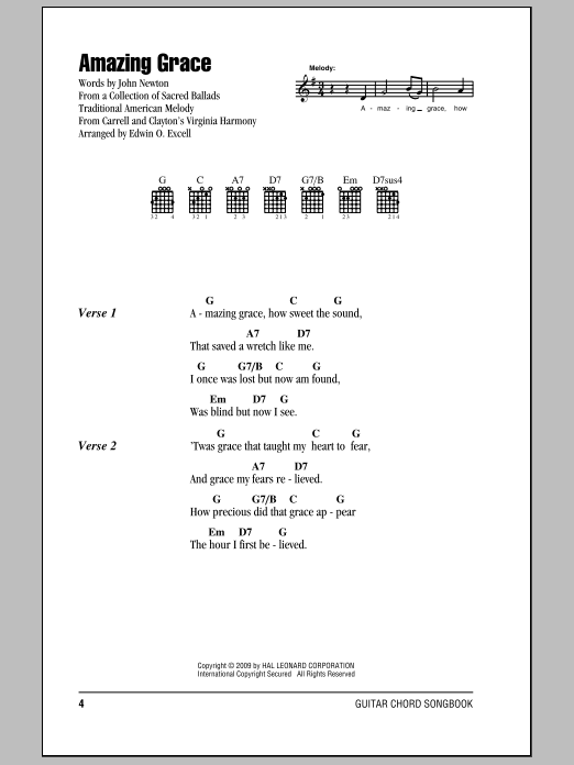 Amazing grace by john newton guitar chords lyrics guitar