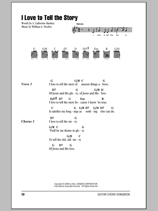 I Love To Tell The Story sheet music for guitar solo (chords, lyrics, melody) by William G. Fischer
