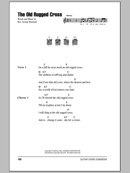 Rev. George Bennard: The Old Rugged Cross - Lyrics u0026 Chords : Sheetmusicdirect.com