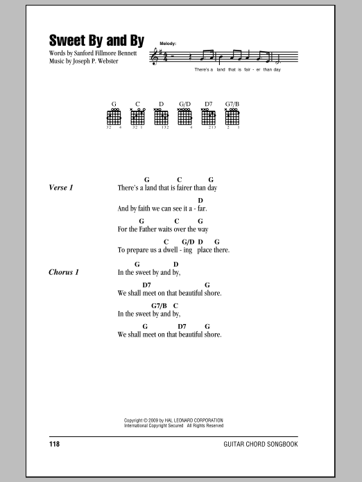 Sweet By And By sheet music for guitar solo (chords, lyrics, melody) by Joseph P. Webster