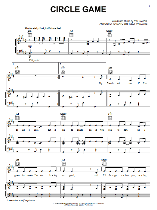 Circle Game sheet music for voice, piano or guitar by Tim James