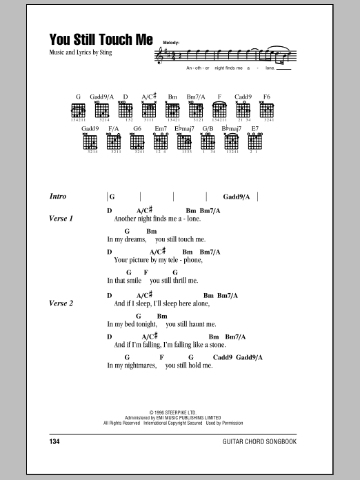 You Still Touch Me sheet music for guitar (chords, lyrics, melody) by Sting