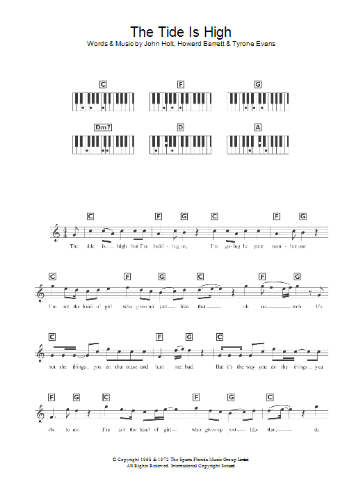 The Tide Is High sheet music for voice and other instruments (fake book) by Howard Barrett