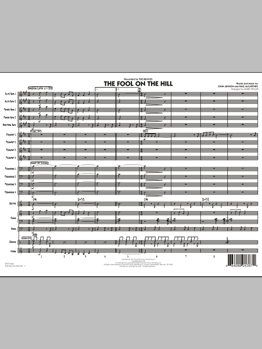 The Fool on the Hill (Flugelhorn Feature) (COMPLETE) sheet music for jazz band by Mark Taylor