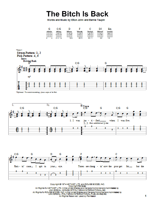 The Bitch Is Back sheet music for guitar solo (easy tablature) by Bernie Taupin
