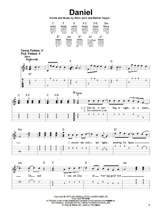 A Word in Spanish Elton John Chords and Lyrics for Guitar