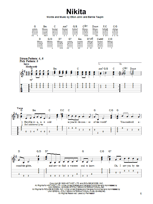 Tablature guitare Nikita de Elton John - Tablature guitare facile