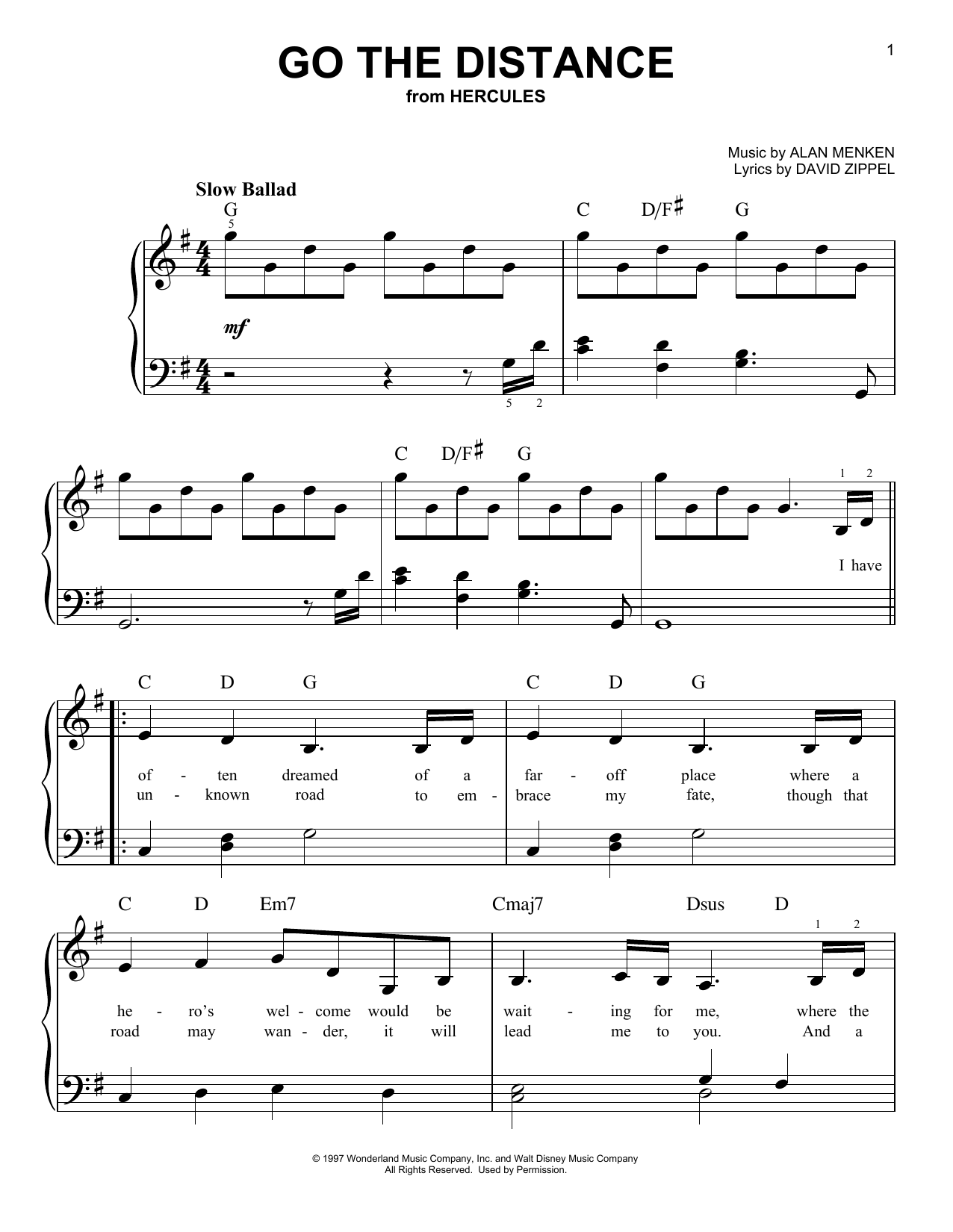 Go The Distance sheet music for piano solo (chords) by David Zippel