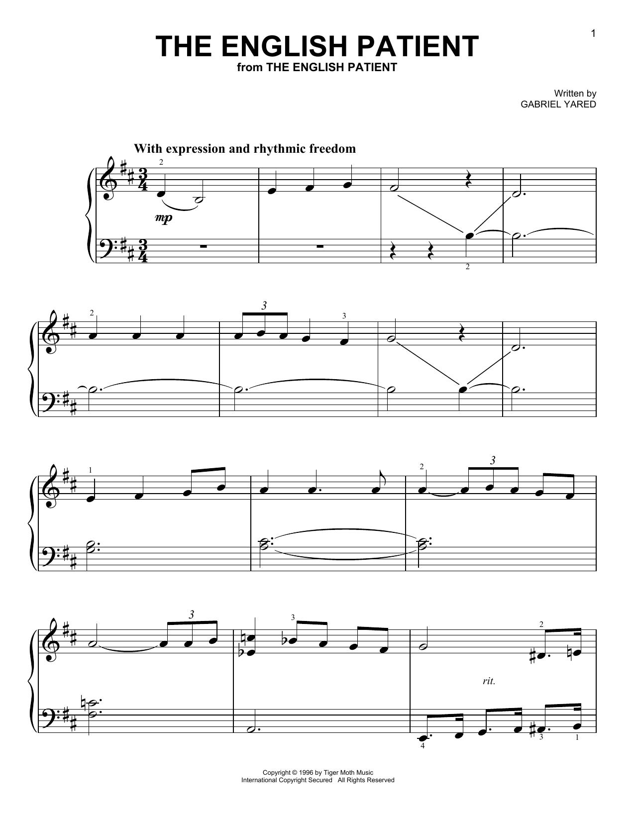 Partition piano The English Patient de Gabriel Yared - Piano Facile