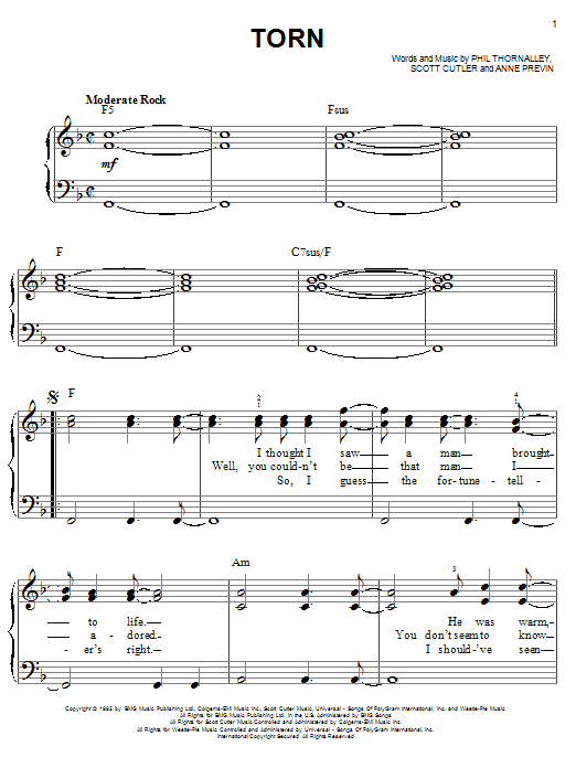 Torn sheet music for piano solo (chords) by Scott Cutler
