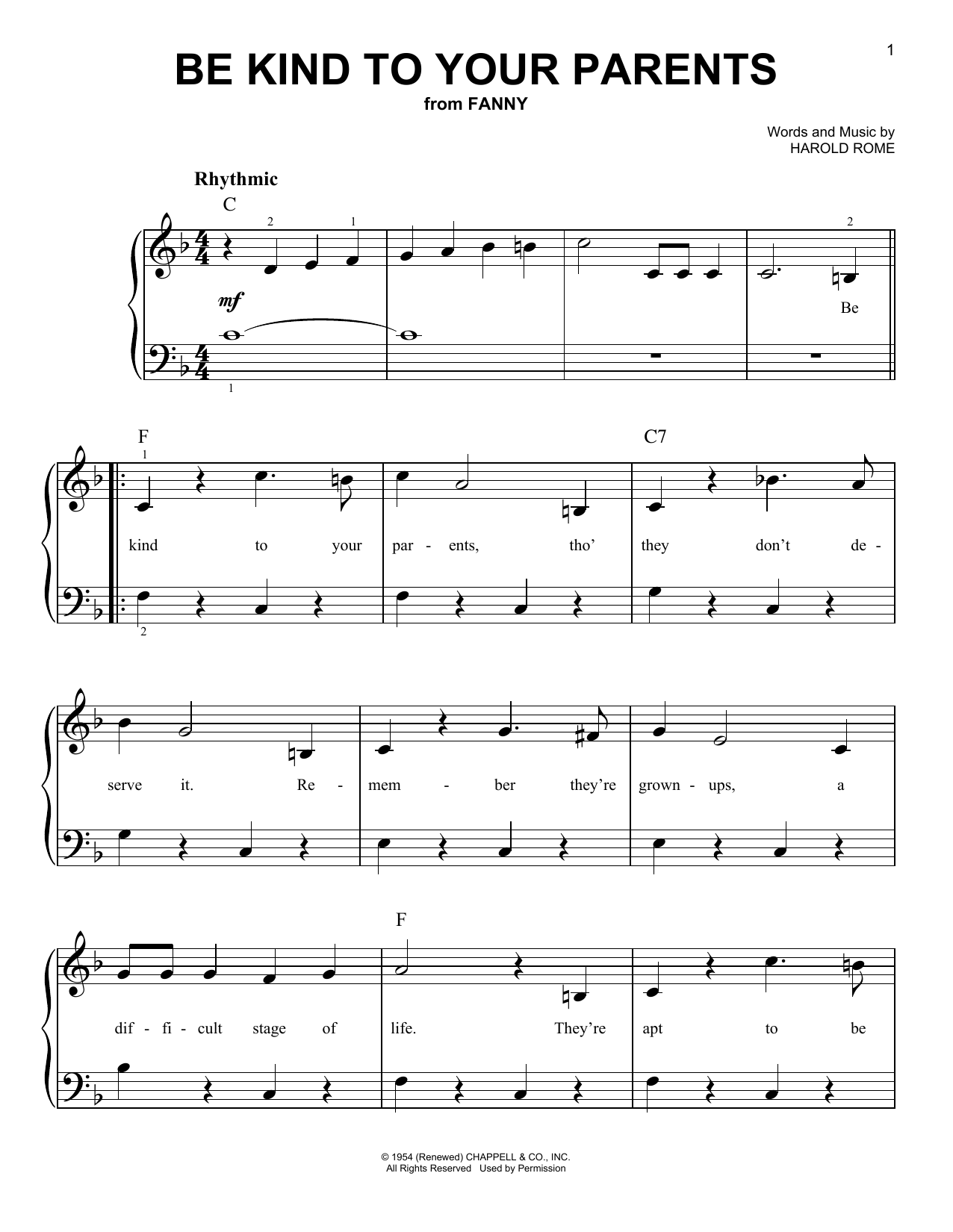 Be Kind To Your Parents sheet music for piano solo (chords) by Harold Rome
