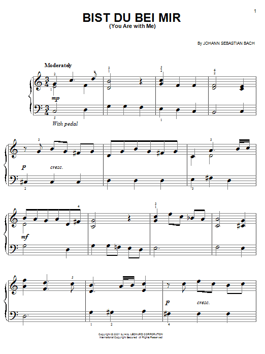 Bist Du Bei Mir (You Are With Me) sheet music for piano solo (chords) by Johann Sebastian Bach