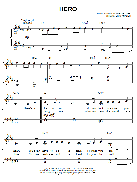 Hero sheet music by Mariah Carey (Easy Piano – 68514) Mariah Carey Chords