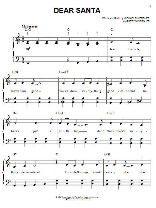 Dear Santa sheet music for piano solo (chords) by Patty Silversher